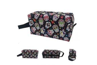 (Colorful Sugar Skulls) - Makeup Bag Cosmetic Toiletry Travel Bag colourful sugar skulls Organiser Pouch For Women Men