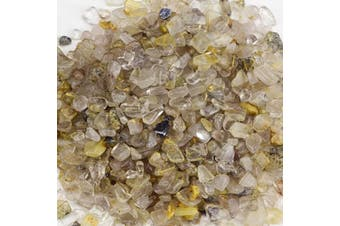 (Gold Rutilated Quartz) - Cherry Tree Collection 0.2kg Polished Tumbled Gemstone Chips| Crystals for Decoration, Healing, Reiki, Chakra (Gold Rutilated Quartz)