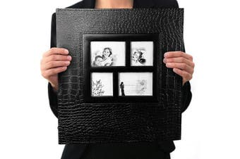(Black-600 Pockets) - barsone Photo Album 600 Pockets, Large Capacity Leather Cover Sewn Bonded Wedding Family Photo Albums Holds 600 Horizontal and Vertical 4x6 Photos with Black Pages(Black)