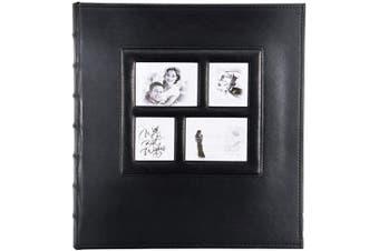 (Black-500 Pockets) - barsone Photo Picutre Album 4x6 500 Photos, Extra Large Capacity Leather Cover Wedding Family Anniversary Photo Albums Holds 500 Horizontal and Vertical Photos(Black)
