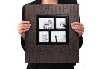 (Brown-600 Pockets) - barsone Photo Album 600 Pockets, Large Capacity Leather Cover Sewn Bonded Wedding Family Photo Albums Holds 600 Horizontal and Vertical 4x6 Photos with Black Pages(Brown)