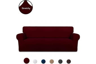 (Large, Wine) - PureFit Super Stretch Chair Sofa Slipcover – Spandex Non Slip Soft Couch Sofa Cover, Washable Furniture Protector with Non Skid Foam and Elastic Bottom for Kids, Pets (Sofa, Wine)