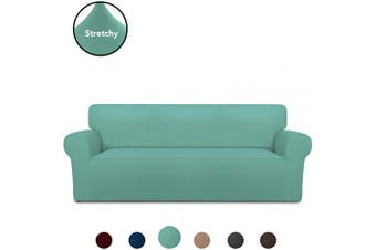 (X Large, Cyan) - PureFit Super Stretch Chair Sofa Slipcover – Spandex Non Slip Soft Couch Sofa Cover, Washable Furniture Protector with Non Skid Foam and Elastic Bottom for Kids, Pets (Oversized Sofa, Cyan)