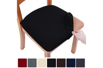 (6, Black) - smiry Stretch Spandex Jacquard Dining Room Chair Seat Covers, Removable Washable Anti-Dust Dinning Upholstered Chair Seat Cushion Slipcovers - Set of 6, Black
