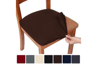 (2, Chocolate) - smiry Stretch Spandex Jacquard Dining Room Chair Seat Covers, Removable Washable Anti-Dust Dinning Upholstered Chair Seat Cushion Slipcovers - Set of 2, Chocolate