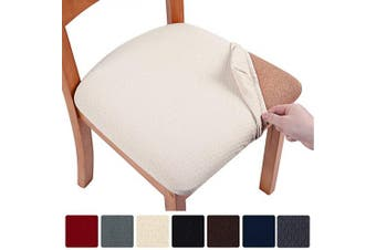 (6, Beige) - smiry Stretch Spandex Jacquard Dining Room Chair Seat Covers, Removable Washable Anti-Dust Dinning Upholstered Chair Seat Cushion Slipcovers - Set of 6, Beige