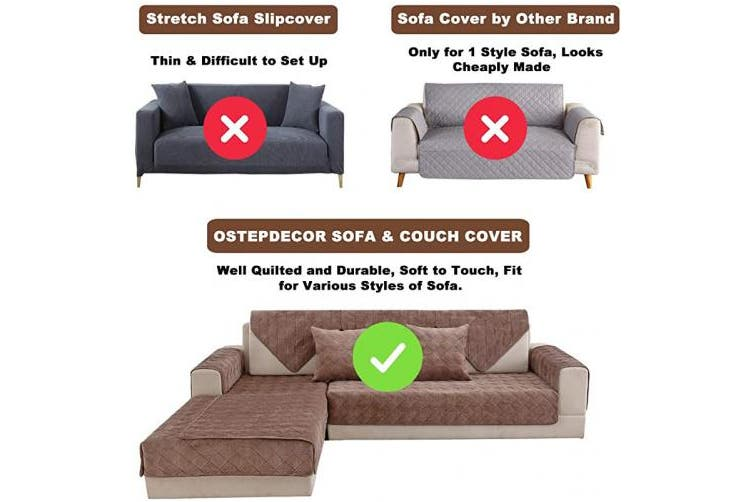 (90cm  x 120cm  (Rectangular), Velvet/Brown) - OstepDecor Couch Cover, Sofa Cover, Quilted Sectional Couch Covers, Velvet Sofa Slipcover for Dogs Cats Pet Love Seat Recliner Leather L Shaped, Armrest Backrest Cover, Brown 90cm x 120cm