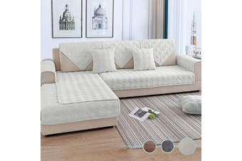 (90cm  x 240cm  (Rectangular), Velvet/Cream) - OstepDecor Couch Cover, Sofa Cover, Quilted Sectional Couch Covers, Velvet Sofa Slipcover for Dogs Cats Pet Love Seat Recliner Leather L Shaped, Armrest Backrest Cover, Cream 90cm x 240cm