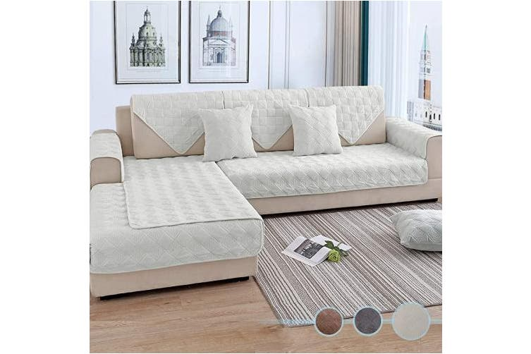 (110cm  x 210cm  (Rectangular), Velvet/Cream) - OstepDecor Couch Cover, Sofa Cover, Quilted Sectional Couch Covers, Velvet Sofa Slipcover for Dogs Cats Pet Love Seat Recliner Leather L Shaped, Armrest Backrest Cover, Cream 110cm x 210cm