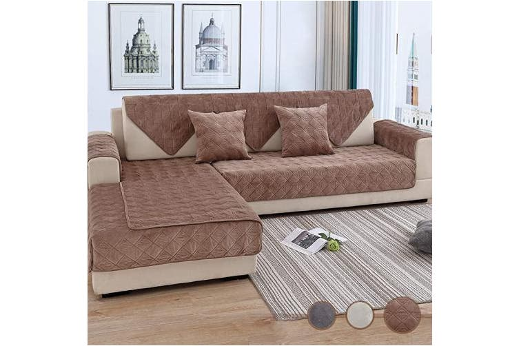 (90cm  x 210cm  (Rectangular), Velvet/Brown) - OstepDecor Couch Cover, Sofa Cover, Quilted Sectional Couch Covers, Velvet Sofa Slipcover for Dogs Cats Pet Love Seat Recliner Leather L Shaped, Armrest Backrest Cover, Brown 90cm x 210cm