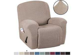 (1, Sand) - H.VERSAILTEX Stretch Recliner Slipcovers 1-Piece Durable Soft High Stretch Jacquard Sofa Furniture Cover Form Fit Stretch Stylish Recliner Cover/Protector (Recliner, Sand)