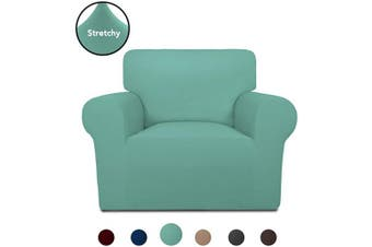 (Cyan) - PureFit Super Stretch Chair Sofa Slipcover – Spandex Non Slip Soft Couch Sofa Cover, Washable Furniture Protector with Non Skid Foam and Elastic Bottom for Kids, Pets (Chair, Cyan)