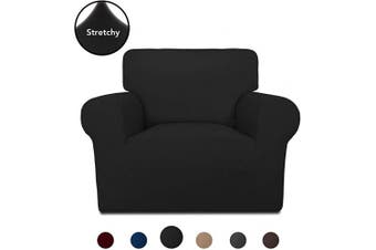 (Black) - PureFit Super Stretch Chair Sofa Slipcover – Spandex Non Slip Soft Couch Sofa Cover, Washable Furniture Protector with Non Skid Foam and Elastic Bottom for Kids, Pets (Chair,Black)