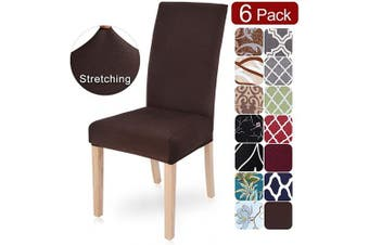 (6 per set, X-chocolate) - Dining Room Chair Covers Slipcovers Set of 6, SearchI Spandex Fabric Fit Stretch Removable Washable Short Parsons Kitchen Chair Covers Protector for Dining Room, Hotel, Ceremony (Chocolate, 6 per set)