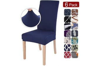 (6 per set, X-navy Blue) - SearchI Dining Room Chair Covers Slipcovers Set of 6, Spandex Fabric Fit Stretch Removable Washable Short Parsons Kitchen Chair Covers Protector for Dining Room, Hotel, Ceremo (Navy Blue, 6 per Set)