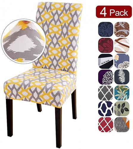 Spandex Fabric Chair Cover for Dining Room Hotel SearchI 2 Pack Fit Stretch Removable Washable Short Dining Chair Covers Slipcover Protector