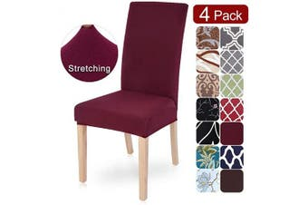 (4 per set, X-wine Red) - SearchI Dining Room Chair Covers Slipcovers Set of 4, Spandex Fabric Fit Stretch Removable Washable Short Parsons Kitchen Chair Covers Protector for Dining Room, Hotel (Wine Red, 4 per Set)