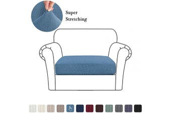 (Small, Dusty Blue) - High Stretch Seat Cushion Cover Sofa Cushion Furniture Protector fot Sofa Seat Sofa Slipcover Sofa Cover Soft Flexibility with Elastic Bottom (1 Piece Cushion Covers, Dusty Blue)