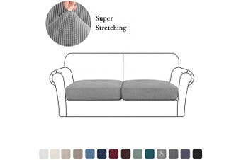 (Medium, Dove) - High Stretch Cushion Cover Sofa Cushion Furniture Protector for Sofa Seat Slipcover Sofa Cover Soft Flexibility with Elastic Bottom (2 Pieces Cushion Covers, Dove)