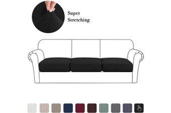 (Large, Black) - High Stretch Seat Cushion Cover Sofa Cushion Furniture Protector fot Sofa Seat Sofa Slipcover Sofa Cover Soft Flexibility with Elastic Bottom (3 Pieces Cushion Covers, Black)