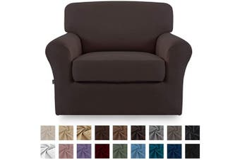 (Chocolate) - Easy-Going 2 Pieces Microfiber Stretch Couch Slipcover – Spandex Soft Fitted Sofa Couch Cover, Washable Furniture Protector with Elastic Bottom for Kids,Pet (Chair,Chocolate)
