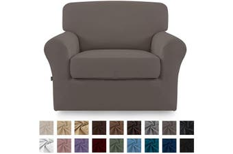 (Taupe) - Easy-Going 2 Pieces Microfiber Stretch Couch Slipcover – Spandex Soft Fitted Sofa Couch Cover, Washable Furniture Protector with Elastic Bottom for Kids,Pet (Chair,Taupe)