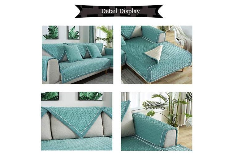 (1pc/90cm  x 210cm /Rectangular, Lake Blue) - TEWENE Sofa Cover, Velvet Couch Cover Anti-Slip Sectional Couch Covers Sofa Slipcover for Dogs Cats Pet Love Seat Recliner Armrest Backrest Cover Lake Blue (Sold by Piece/Not All Set)