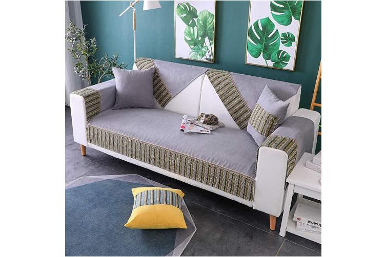 (1pc/90cm  x 120cm /Rectangular, Gray) - TEWENE Couch Cover, Sofa Cover Couch Covers Sectional Couch Covers Anti-Slip Sofa Slipcover for Dogs Cats Pet Love Seat Grey 90cm x 120cm (Sold by Piece/Not All Set)