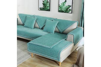 (1pc/90cm  x 240cm /Rectangular, Lake Blue) - TEWENE Sofa Cover, Velvet Couch Cover Anti-Slip Sectional Couch Covers Sofa Slipcover for Dogs Cats Pet Love Seat Recliner Armrest Backrest Cover Lake Blue (Sold by Piece/Not All Set)