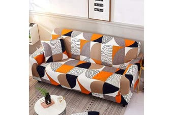(Sofa-3 Seater, Pattern #9) - nordmiex Stretch Sofa Slipcovers Fitted Furniture Protector Printed Sofa Cover Stylish Fabric Couch Cover with 2 Pillowcases for 3 Cushion Couch(Sofa-3 Seater,Geometric Style 2)