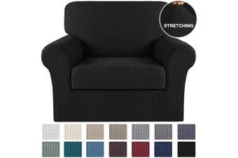 (Black) - 2 Piece Sofa Cover Stretch Spandex Sofa Slipcovers with Elastic Bottom Black Chair Cover Non Slip Stretch Chair Slipcover Jacquard Stretch Fabric High Spandex Form Fit Slipover (Chair, Black)