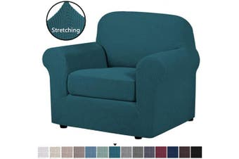 (Deep Teal) - H.VERSAILTEX 2-Pieces Armchair Cover Chair Slipcovers with Arms Furniture Protector Cover Fit Armchair Width Up to 120cm , Jacquard Spandex Couch Covers Armchair Slipcover - Deep Teal, Chair
