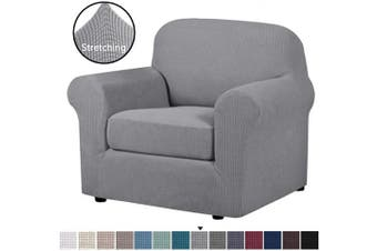 (Dove) - H.VERSAILTEX 2-Pieces Armchair Cover Chair Slipcovers with Arms Furniture Protector Cover Fit Armchair Width Up to 120cm , Jacquard Spandex Couch Covers Armchair Slipcover - Dove, Chair