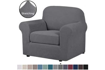 (Gray) - H.VERSAILTEX 2 Piece T Cushion Chair Cover Stretch Furniture Cover/Armchair Protector for Chair Width Up to 120cm , High Spandex Lycra Stylish Slipcover Machine Washable (Chair, Grey)