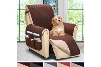 (Large, Chocolate/Beige) - ASHLEYRIVER Reversible Recliner Chair Cover, Sofa Covers for Dogs,Sofa Slipcover,Couch Covers for 3 Cushion Couch,Couch Protector(Recliner Oversize:Chocolate/Beige)
