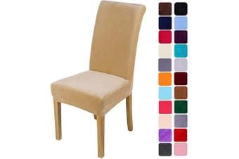 (4, Beige) - smiry Velvet Stretch Dining Room Chair Covers Soft Removable Dining Chair Slipcovers Set of 4, Beige