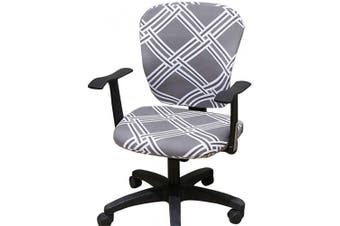 (Light Grey &White Stripe) - Jinzio Computer Office Chair Cover - Split Protective & Stretchable Cloth Polyester Universal Desk Task Chair Chair Covers Stretch Rotating Chair Slipcover (Light Grey & White Stripe)