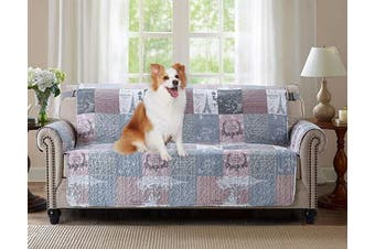 (180cm  Sofa Cover, Latte) - Brilliant Sunshine Paris and Toile Floral Patchwork, Reversible Large Sofa Protector for Seat Width up to 180cm , Furniture Slipcover, 5.1cm Strap, Couch Slip Cover for Pets, Kids, Dogs, Sofa, Latte Grey