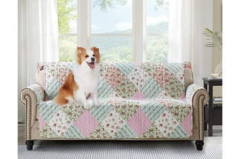 (180cm  Sofa Cover, Pink+green) - Brilliant Sunshine Pink and Green Rose Patchwork, Reversible Large Sofa Protector for Seat Width up to 180cm , Furniture Slipcover, 5.1cm Strap, Couch Slip Cover for Pets, Kids, Dogs, Sofa, Pink Green