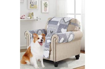 (60cm  Chair Cover, Grey+white) - Brilliant Sunshine Grey Heart Love Patchwork, Reversible Chair Protector for Seat Width up to 60cm , Furniture Slipcover, 5.1cm Strap, Chair Slip Cover for Pets, Kids, Dogs, Cats, Armchair, Grey
