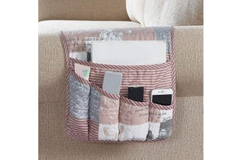(Organiser, Latte) - Brilliant Sunshine Paris and Toile Floral Patchwork Sofa Armrest 5 Pockets Organiser, Couch Chair Armrest Caddy, for TV Remote Control, Phone, Book, Glasses, Magazine, 90cm ×33cm , Latte Grey