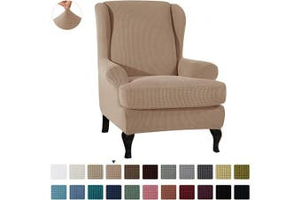 (Camel) - CHUN YI 2-Piece Stretch Jacquard Wing Chair Cover, Wing Back Wingback Armchair Chair Slipcovers with Arms Spandex Fabric Sofa Covers Furniture Protector(Camel)