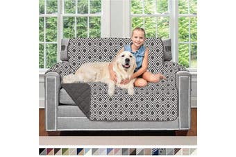(120cm  Chair, Diamond/Charcoal) - Sofa Shield Original Patent Pending Reversible Chair Protector for Seat Width up to 120cm , Furniture Slipcover, 5.1cm Strap, Chairs Slip Cover Throw for Pets, Kids, Cats, Armchair, Diamond Charcoal