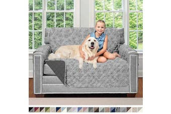 (120cm  Chair, Vintage Floral: Light Gray/Charcoal) - Sofa Shield Original Patent Pending Reversible Chair Protector for Seat Width to 120cm , Furniture Slipcover, 5.1cm Strap, Chairs Slip Cover Throw for Pets, Armchair, Vintage Floral Lt Grey Charcoal