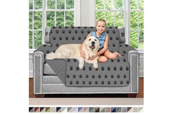 (120cm  Chair, PAW: Black/Gray) - Sofa Shield Original Patent Pending Reversible Chair Protector for Seat Width up to 120cm , Furniture Slipcover, 5.1cm Strap, Chairs Slip Cover Throw for Pets, Kids, Cats, Armchair, Paw Grey Black
