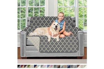 (120cm  Chair, Quatrefoil: Charcoal/Linen) - Sofa Shield Original Patent Pending Reversible Chair Protector for Seat Width to 120cm , Furniture Slipcover, 5.1cm Strap, Chairs Slip Cover Throw for Pets, Cats, Armchair, Quatrefoil Charcoal Linen