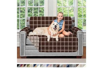 (120cm  Chair, Plaid: Chocolate/Beige) - Sofa Shield Original Patent Pending Reversible Chair Protector for Seat Width up to 120cm , Furniture Slipcover, 5.1cm Strap, Chairs Slip Cover Throw for Pets, Cats, Armchair, Plaid Chocolate Beige