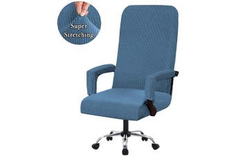 (Medium, Dusty Blue) - Flamingo P Stretch Office Chair Dining Chair Covers Super Fit Stretch Removable Washable High Stretch Chairs Protector Cover Seat Slipcover Chair Covers for Dining Room - Dusty Blue - Medium Size