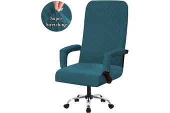 (Large, Deep Teal) - Flamingo P High Stretch Office Chair Cover Form Fit Stretch Modern Removable Washable High Dining Chair Protector Cover Chair Slipcover for Home, Dining Room - Deep Teal - Large Size