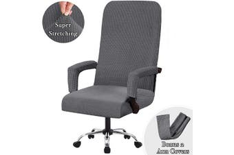 (Large, Gray) - Flamingo P High Stretch Office Chair Cover Form Fit Stretch Modern Removable Washable High Dining Chair Protector Cover Chair Slipcover for Home, Dining Room - Grey - Large Size